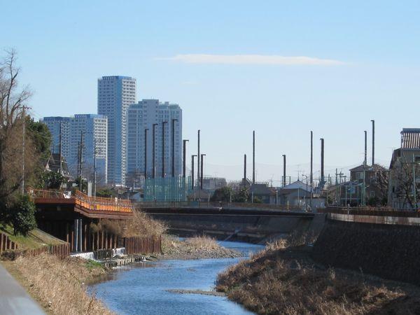 自転車の 自転車 車の中 固定 : 野川天神森橋から見る二子玉川 ...