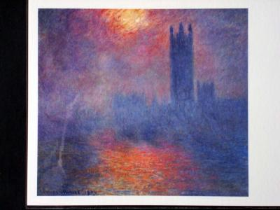 【ロンドン国会議事堂、霧の中に差す陽光(1904年)】