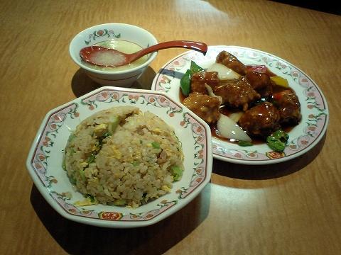 王将 焼き飯+酢豚