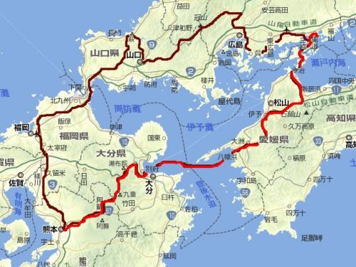 西日本(拡大)旅程図初日