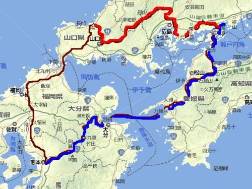 西日本(拡大)旅程図2日目2