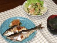 6/14 夕食 焼きニシン(三五八漬け)、もやしとシーフードのエスニックサラダ、もずくとワカメのみそ汁
