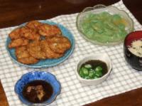 6/15 夕食 さつま揚げ、刺身コンニャク、オクラもずく酢、玉子スープ