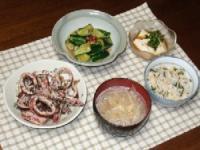6/29 夕食 イカのにんにくバジル炒め、冷や奴、ピリ辛きゅうり漬け、鮭ハラスとシソご飯、もやしみそ汁
