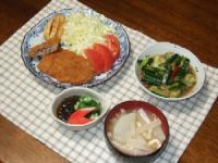 6/30 夕食 ミルフィーユトンカツ、オクラもずく酢、ピリ辛きゅうり漬け、大根のみそ汁