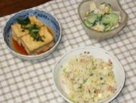 7/17 夕食 揚げ出し豆腐、ポテトサラダ、チャーハン