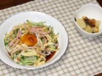 7/18 夕食 大豆こんにゃく麺の冷やし中華、ゆでじゃがの食べるオリーブ油がけ