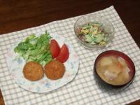 4/10 夕食 牛肉コロッケ、きんぴらサラダ、豚汁