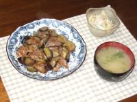 4/17 夕食 豚肉とナスのオイスター炒め、マカロニサラダ、じゃがいもと水菜の味噌汁