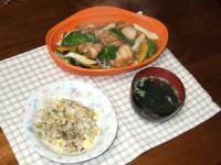 4/21 夕食 鶏と野菜のレンジ蒸しほか