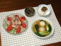 5/28 夕食 かつおの若節サラダ、もちもちじゃが餃子スープ、ひじき煮、冷奴