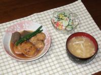 5/31 夕食 蓮根ひろうすと鶏団子の煮物、きゅうりとカニかまのサラダ、豆腐とえのきの味噌汁