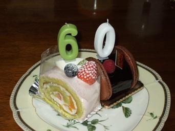 5/2 誕生日ケーキ に60のろうそく
