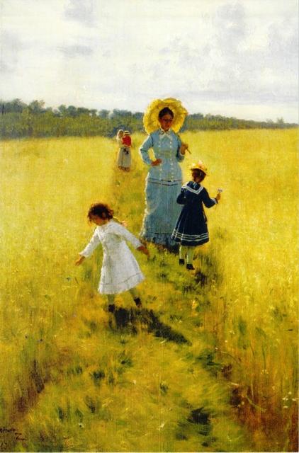 あぜ道にて 畔を歩くヴェーラ・レピーナと子供たち