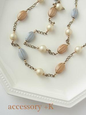 ミルクティー&ブルーグレーのネックレス
