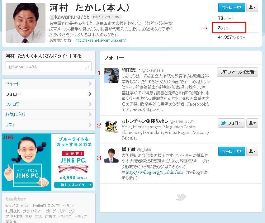 河村市長のTwitterにフォローされた1