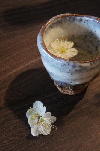 手捻り猪口と梅の花