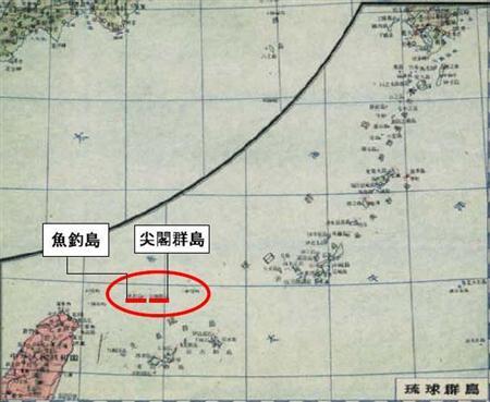 中国地図で尖閣