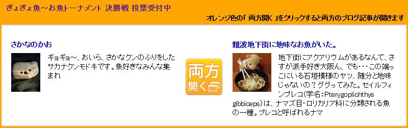 ぎょぎょ魚~お魚トーナメント 決勝戦 投票受付中