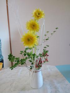 2012.07.26モネ向日葵、ヒペリカム、ドウダンツツジ、ミツマタ