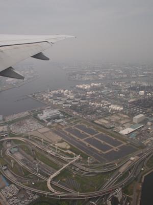離陸直後の工業地帯