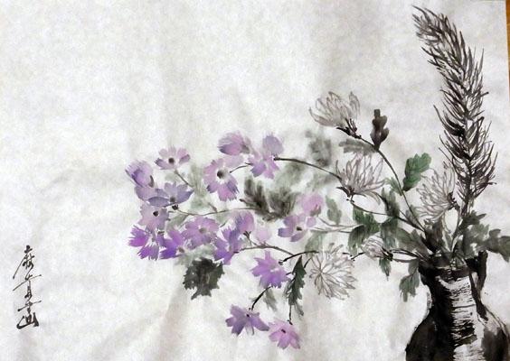 20110103 水墨画 菊松