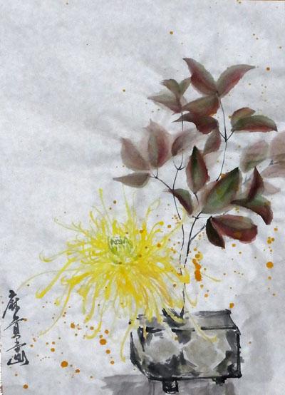 20110103 水墨画 菊