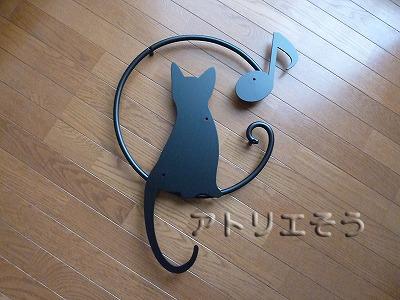 猫+音符妻飾り