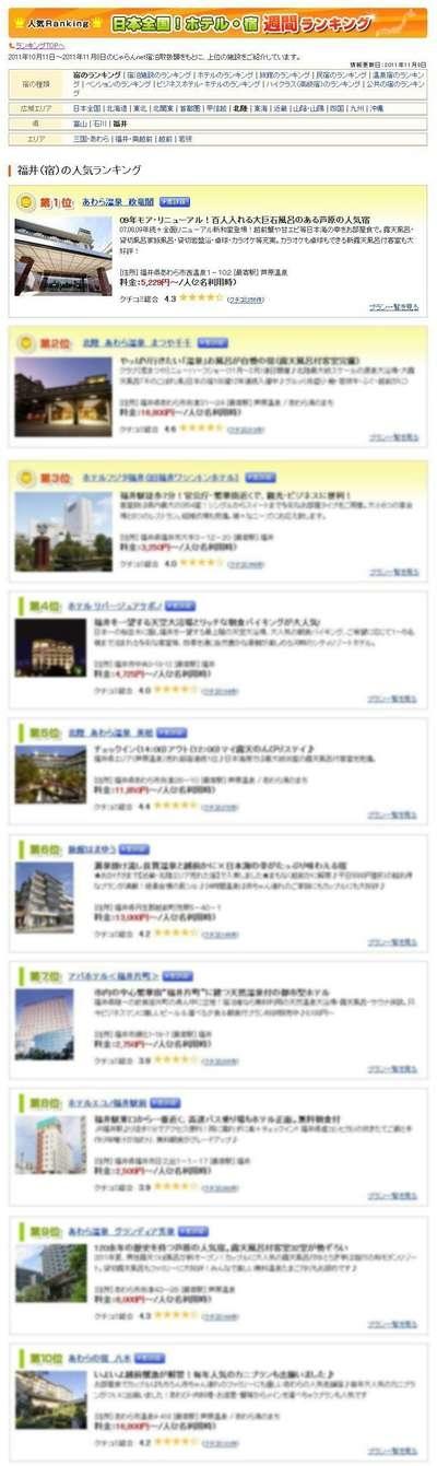ユーザーが選んだ!人気宿ランキング福井編 週間ランキング11/10