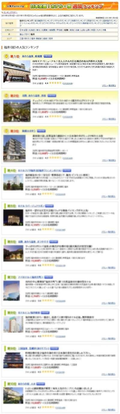 ユーザーが選んだ!人気宿ランキング福井編 週間ランキング11/17
