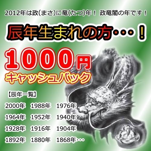 辰年生まれの方1000円キャッシュバックプラン
