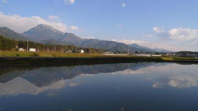 水鏡に映る有明山