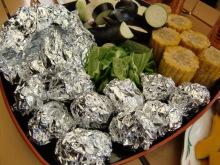ログハウスでワインを楽しむスローライフ日記-野菜とホイル焼き