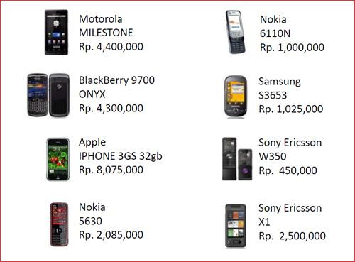 インドネシア携帯の一覧
