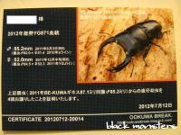 ワイドカウ ♂852×♀520幼虫証明書