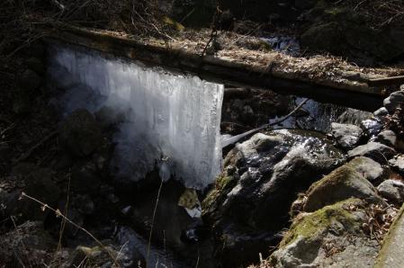 生け簀用の取水水路から氷のカーテンが