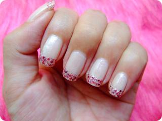 ピンク×レッド キラキララメフレンチ