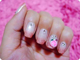 結婚式ピンク×ホワイト+バラネイル