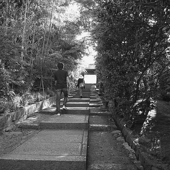 高台寺の階段・子どもたちが先に登る