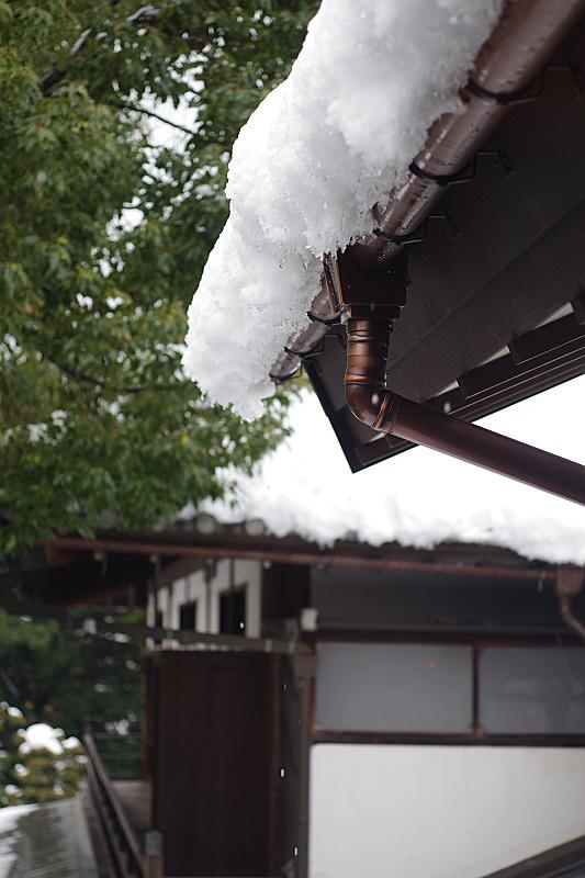 雨樋に雪解け水が流れる