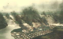 炎上する停泊しているアメリカの戦艦