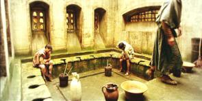 古代ローマの大便した後にお尻を水で濡らした綿で洗浄する極めて不衛生なお尻拭き方法