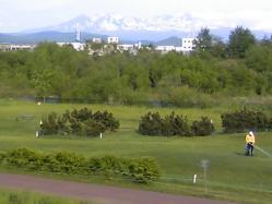 パークゴルフ場では水まき