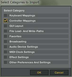 TRAKTOR Pro - Select Categories to Import