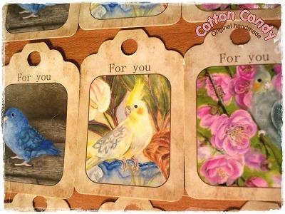 アートな鳥のタグセット1