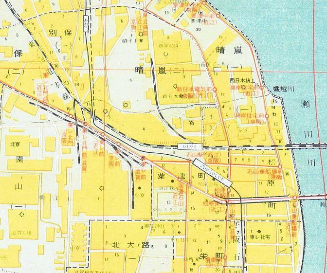 S45.6.10 奈良県・滋賀県市街地図集 石山(東レ付近)