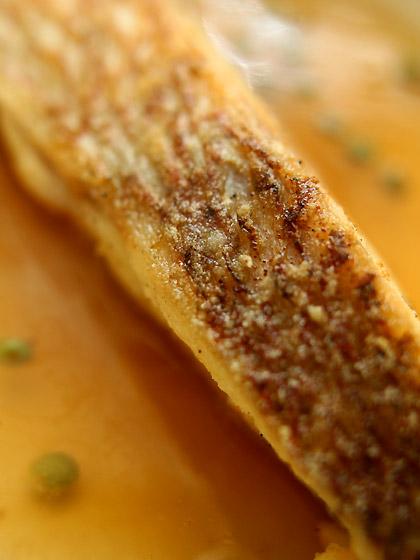 鯛のデュラム・セモリナ粉ソテー 琥珀あん敷き(アップ1)
