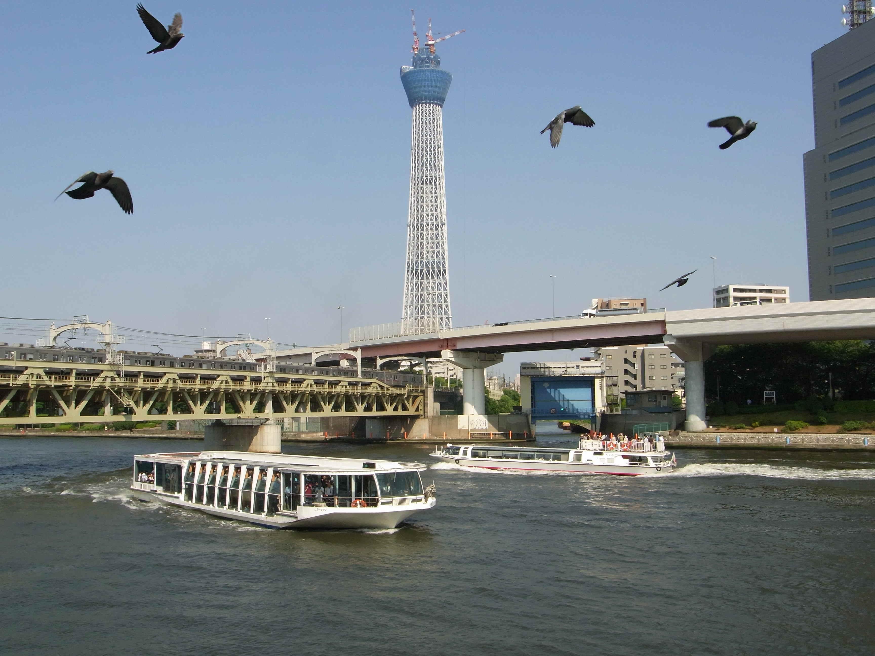 花川戸鉄橋と2隻の水上バスと東京スカイツリー