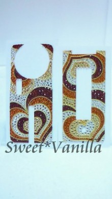 Decoshop Sweet☆Vanilla-ブラウン系 ハートプッチ柄 デコ電デコシート