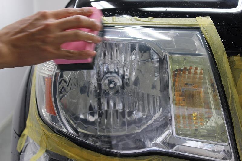 ヘッドライトの磨き